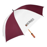64 Inch Maroon/White Vented Umbrella-Eureka College w/ Shield