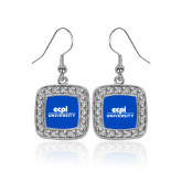 Crystal Studded Square Pendant Silver Dangle Earrings-ECPI University Stacked
