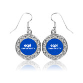 Crystal Studded Round Pendant Silver Dangle Earrings-ECPI University Stacked