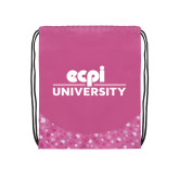 Nylon Pink Bubble Patterned Drawstring Backpack-ECPI University Stacked