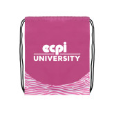 Nylon Zebra Pink/White Patterned Drawstring Backpack-ECPI University Stacked