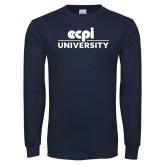 Navy Long Sleeve T Shirt-ECPI University Stacked