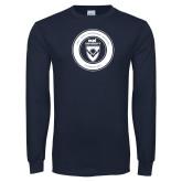 Navy Long Sleeve T Shirt-ECPI University Seal
