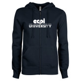 ENZA Ladies Navy Fleece Full Zip Hoodie-ECPI University Stacked