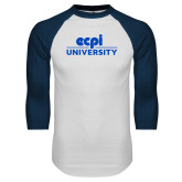 White/Navy Raglan Baseball T Shirt-ECPI University Stacked