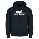 Navy Fleece Hoodie-ECPI University Stacked