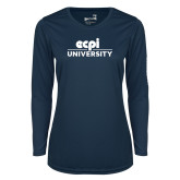 Ladies Syntrel Performance Navy Longsleeve Shirt-ECPI University Stacked