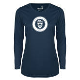 Ladies Syntrel Performance Navy Longsleeve Shirt-ECPI University Seal