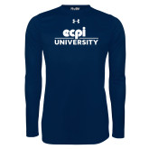 Under Armour Navy Long Sleeve Tech Tee-ECPI University Stacked