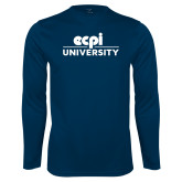 Performance Navy Longsleeve Shirt-ECPI University Stacked