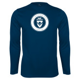 Performance Navy Longsleeve Shirt-ECPI University Seal