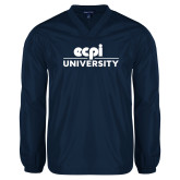 V Neck Navy Raglan Windshirt-ECPI University Stacked