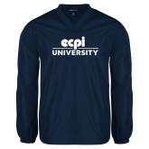 V Neck Navy Raglan Windshirt-ECPI University Stacked