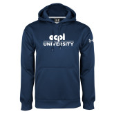 Under Armour Navy Performance Sweats Team Hoodie-ECPI University Stacked
