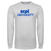 White Long Sleeve T Shirt-ECPI University Stacked