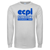 White Long Sleeve T Shirt-ECPI University - Founded 1966
