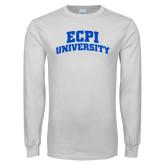 White Long Sleeve T Shirt-ECPI University Arched