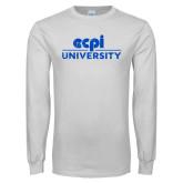 White Long Sleeve T Shirt-ECPI University Stacked Distressed