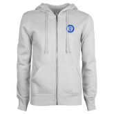 ENZA Ladies White Fleece Full Zip Hoodie-ECPI University Seal