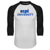 White/Black Raglan Baseball T Shirt-ECPI University Stacked