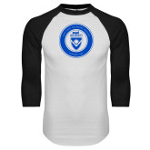 White/Black Raglan Baseball T Shirt-ECPI University Seal