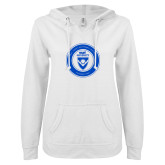 ENZA Ladies White V Notch Raw Edge Fleece Hoodie-ECPI University Seal