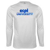 Performance White Longsleeve Shirt-ECPI University Stacked