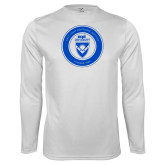 Performance White Longsleeve Shirt-ECPI University Seal