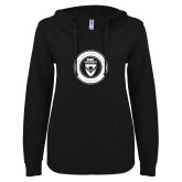 ENZA Ladies Black V Notch Raw Edge Fleece Hoodie-ECPI University Seal