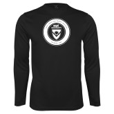 Performance Black Longsleeve Shirt-ECPI University Seal