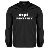 V Neck Black Raglan Windshirt-ECPI University Stacked