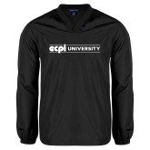 V Neck Black Raglan Windshirt-ECPI University Flat