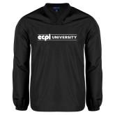 V Neck Black Raglan Windshirt-ECPI University Flat