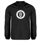 V Neck Black Raglan Windshirt-ECPI University Seal