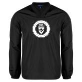 V Neck Black Raglan Windshirt-ECPI University Seal