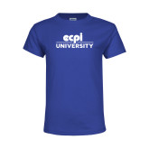 Youth Royal T Shirt-ECPI University Stacked