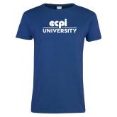 Ladies Royal T Shirt-ECPI University Stacked Distressed