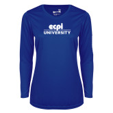Ladies Syntrel Performance Royal Longsleeve Shirt-ECPI University Stacked