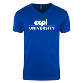 Next Level V Neck Royal T Shirt-ECPI University Stacked