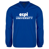 V Neck Royal Raglan Windshirt-ECPI University Stacked