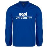 V Neck Royal Raglan Windshirt-ECPI University Stacked