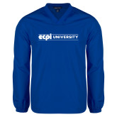 V Neck Royal Raglan Windshirt-ECPI University Flat