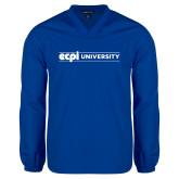 V Neck Royal Raglan Windshirt-ECPI University Flat