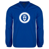 V Neck Royal Raglan Windshirt-ECPI University Seal