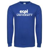 Royal Long Sleeve T Shirt-ECPI University Stacked Distressed
