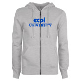 ENZA Ladies Grey Fleece Full Zip Hoodie-ECPI University Stacked