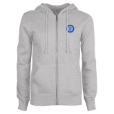 ENZA Ladies Grey Fleece Full Zip Hoodie-ECPI University Seal