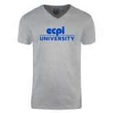 Next Level V Neck Heather Grey T Shirt-ECPI University Stacked
