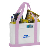 Contender White/Pink Canvas Tote-ECPI University Stacked