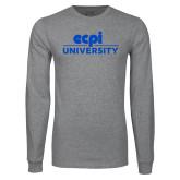 Grey Long Sleeve T Shirt-ECPI University Stacked